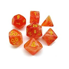 Chessex 7 Set Polyhedral Dice - Ghostly Glow - Orange/Yellow - CHX27523