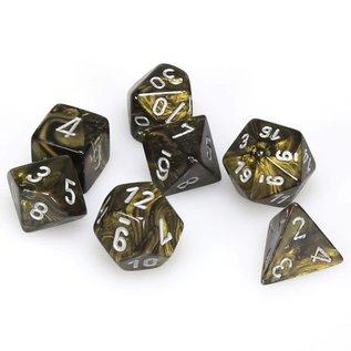 Chessex 7 Set Polyhedral Dice - Leaf - Gold/Silver - CHX27418