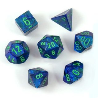 Chessex 7 Set Polyhedral Dice - Lustrous - Dark Blue/Green - CHX27496