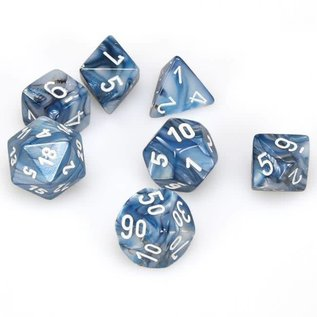 Chessex 7 Set Polyhedral Dice - Lustrous - Slate/White - CHX27490
