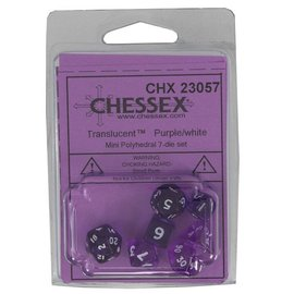 Chessex 7 Set Polyhedral Dice - Mini Translucent - Purple/White - CHX23057