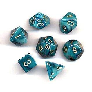 Chessex 7 Set Polyhedral Dice - Phantom - Teal/Gold - CHX27489