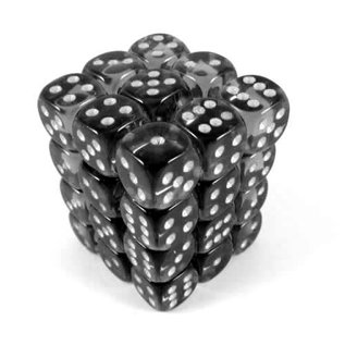 Chessex 36 12mm D6 Dice Block - Translucent - Smoke/White - CHX23808