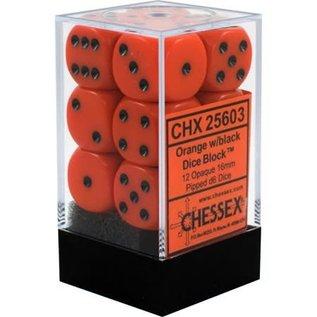 Chessex 12 16mm D6 Dice Block - Opaque - Orange/Black - CHX25603