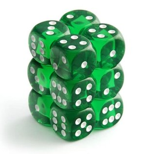 Chessex 12 16mm D6 Dice Block - Translucent - Green/White Translucent - CHX23605