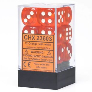 Chessex 12 16mm D6 Dice Block - Translucent - Orange/White Translucent - CHX23603