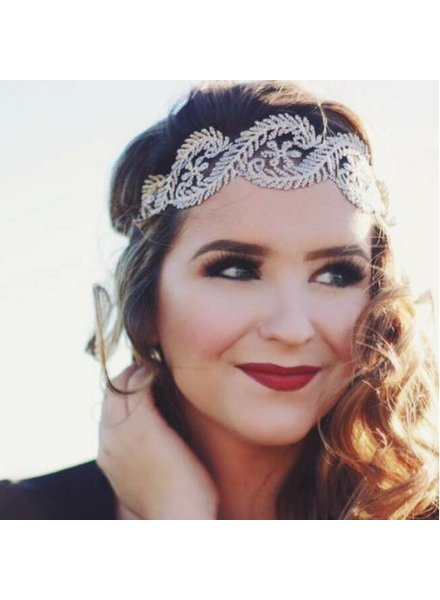 Gray Lace Tie Headband