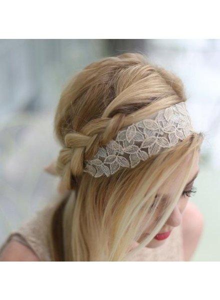 Champagne Lace Tie Headband