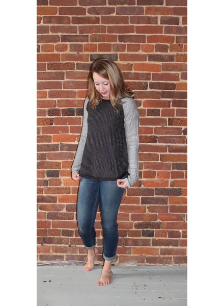 Black and Grey Striped Raglan L4543