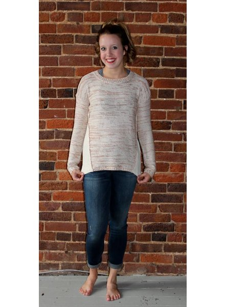 Creme and Copper Pullover Sweater L4698