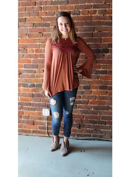 Rust Long Sleeve Top W/ Crochet Lace