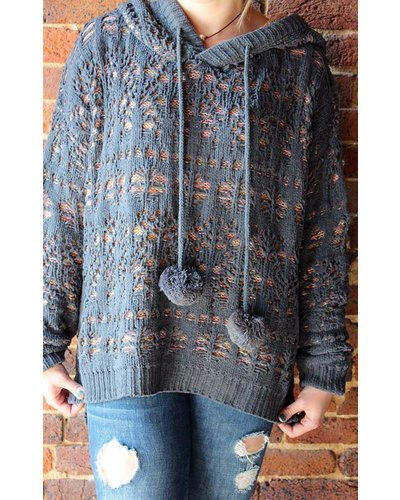 Grey/Multicolor Knit Pom Pullover