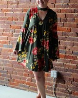 Olive Floral Bell Sleeve Dress