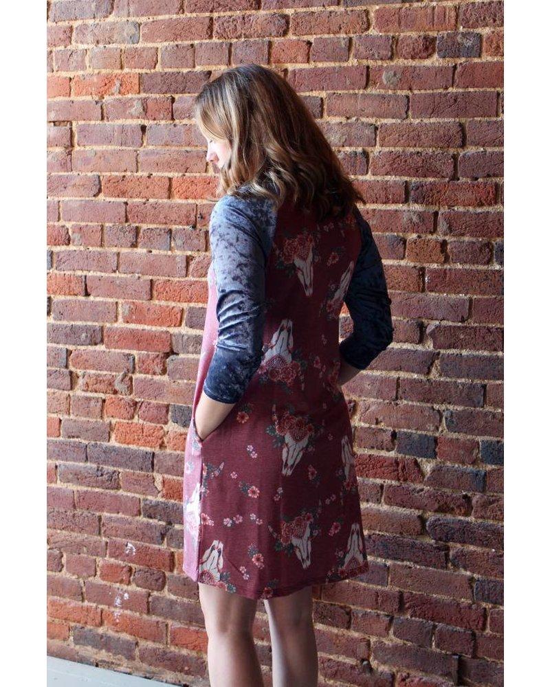 Floral/Velvet Longhorn Dress