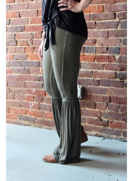 Olive Flowy Gathered Bottom Pants