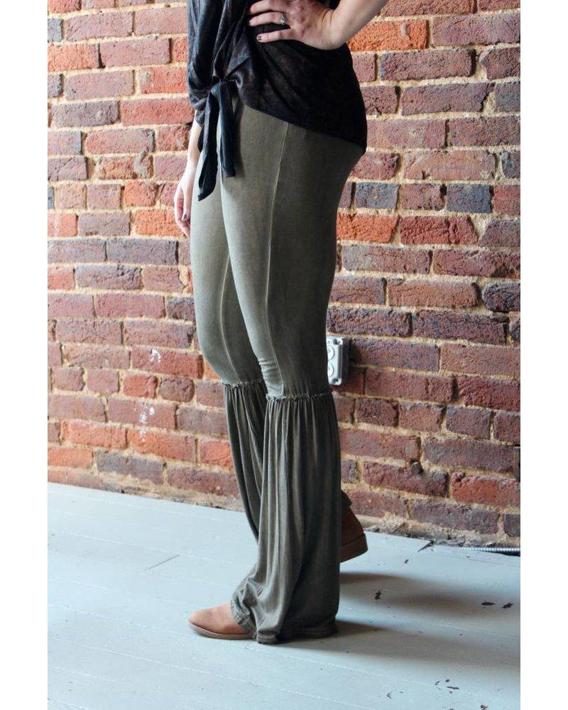 Olive Flowy Gathered Bottom Pants