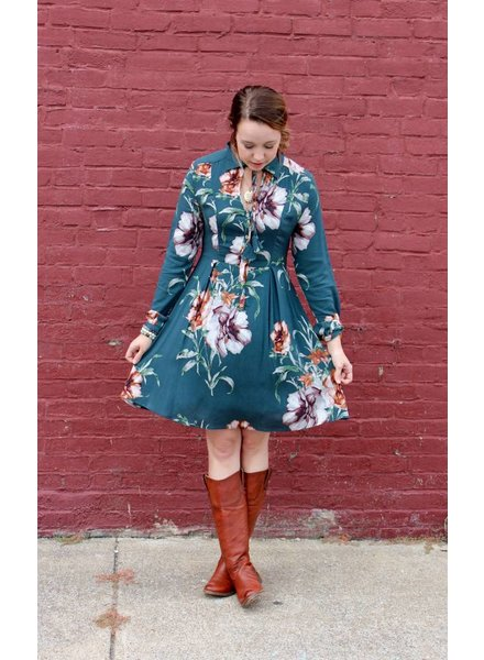 Gilli Teal Floral Dress CRD3079