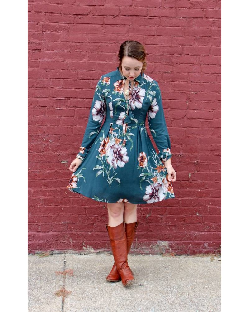 Gilli Teal Floral Dress CRD3079
