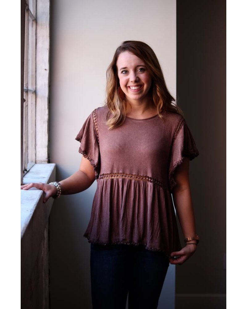 Red Bean Ribbed Crochet Top