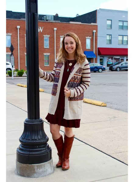 Multi Striped Hooded Cardigan