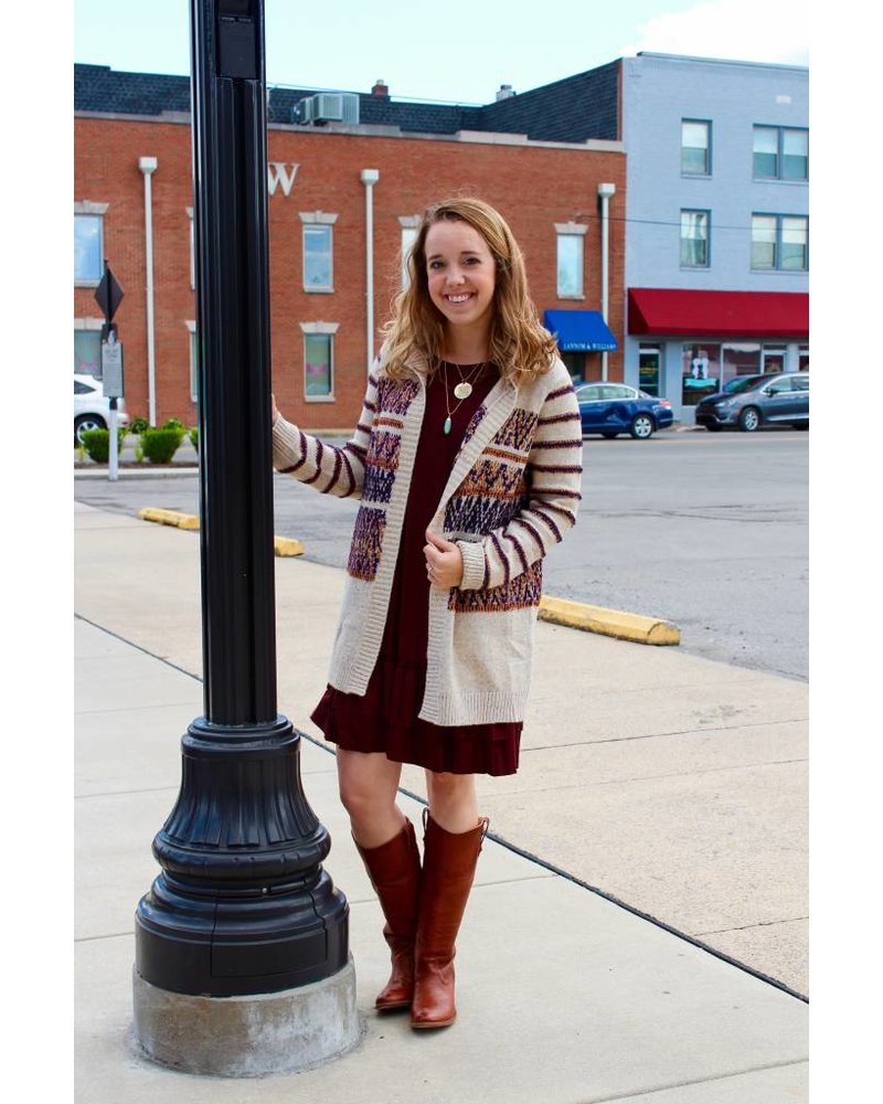 Multi Striped Hooded Cardigan - Poppie's Boutique