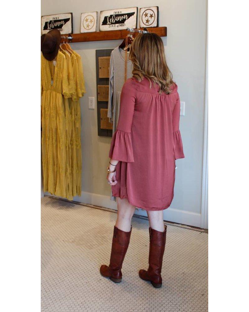 Muave Gathered Bell Sleeve Dress