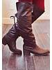 Brown Tonal Fab Tie Boots