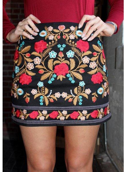 Velzera Black Floral Embroidered Skirt