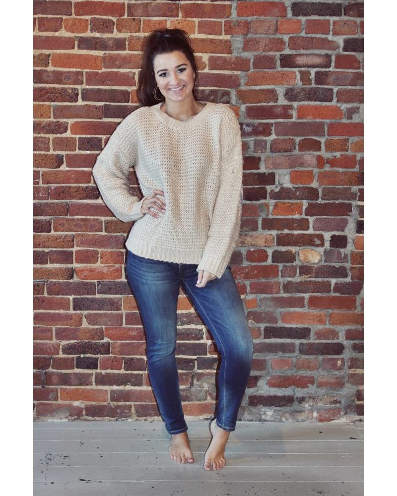 Cream Sweater W/ Elbow Patch