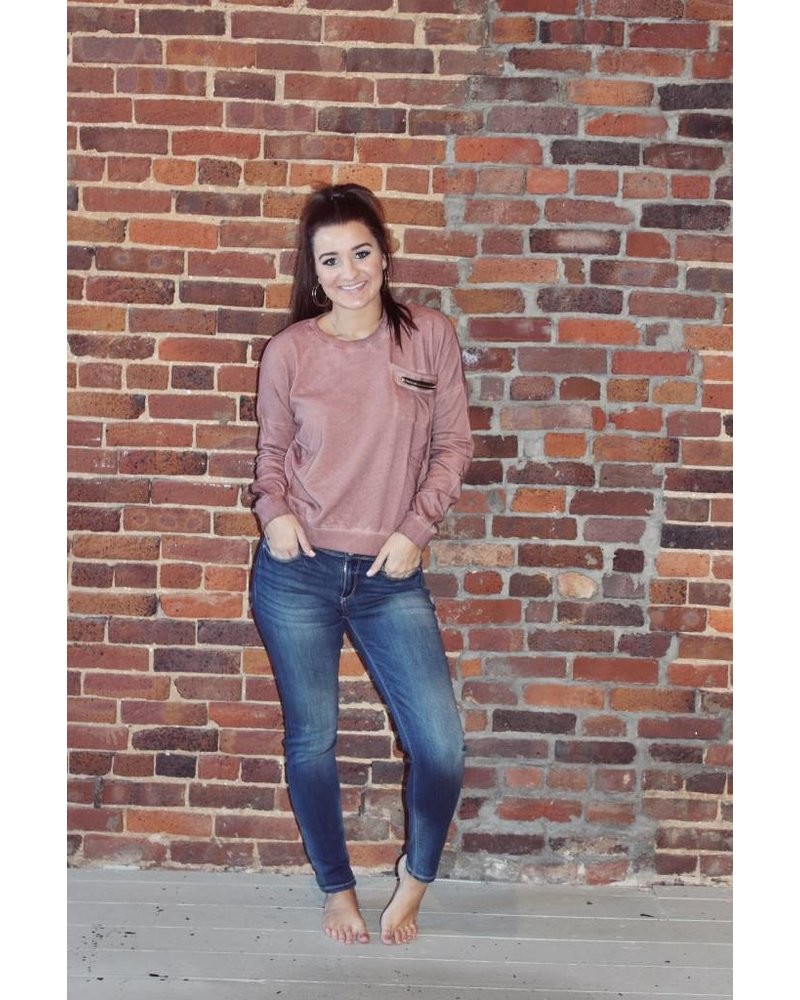 Brick Zip Pocket Sweater