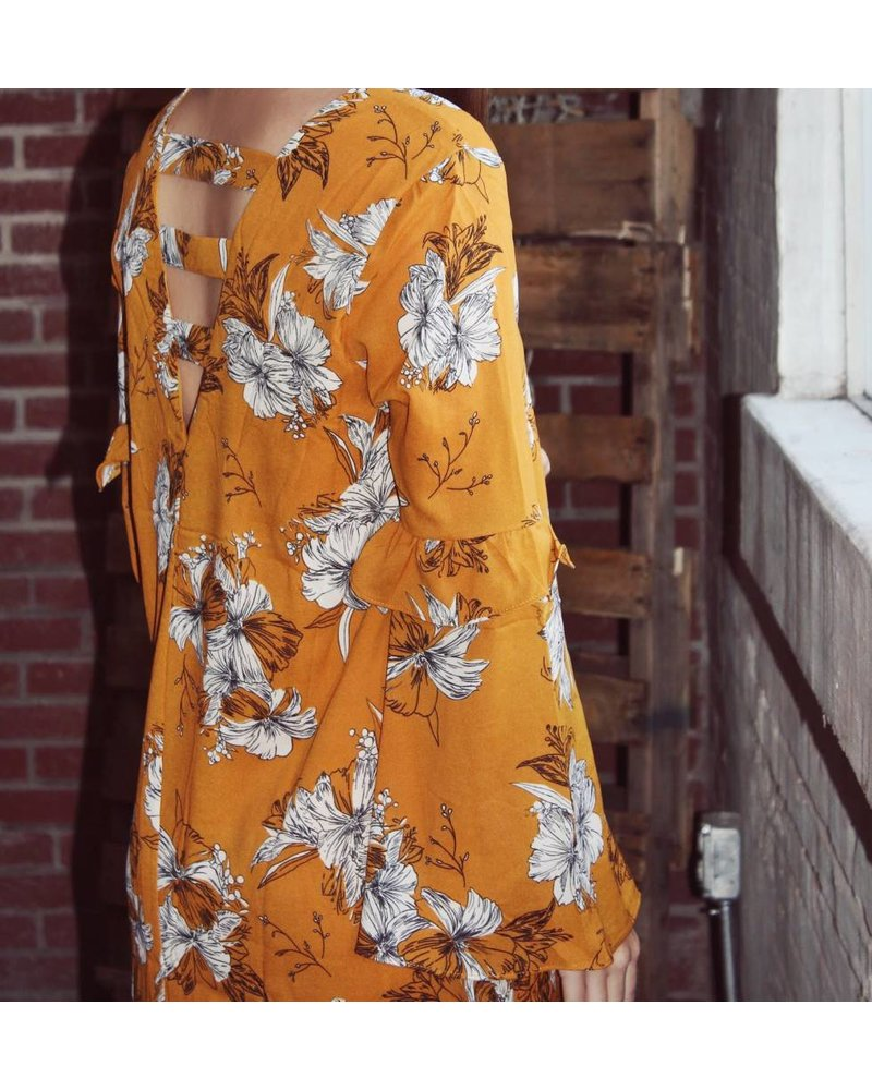 Loveriche Floral Bell Sleeve Dress