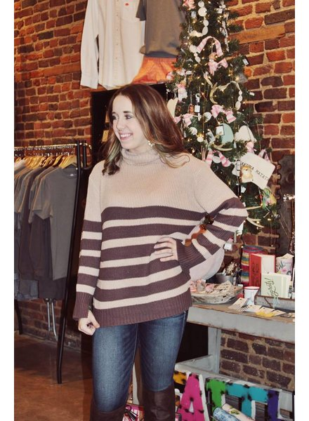 Taupe/Mocha Stripe Sweater