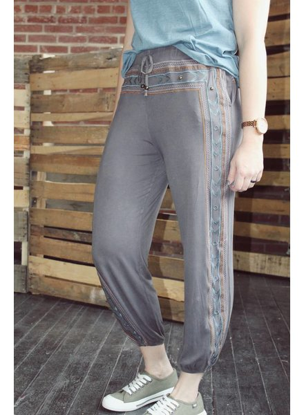 Charcoal Ethnic Embroidery Pant