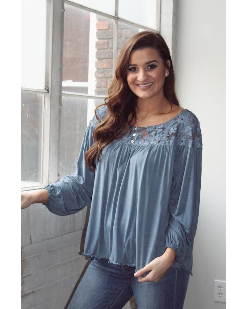 Midnight Blue Dolman Sleeve top