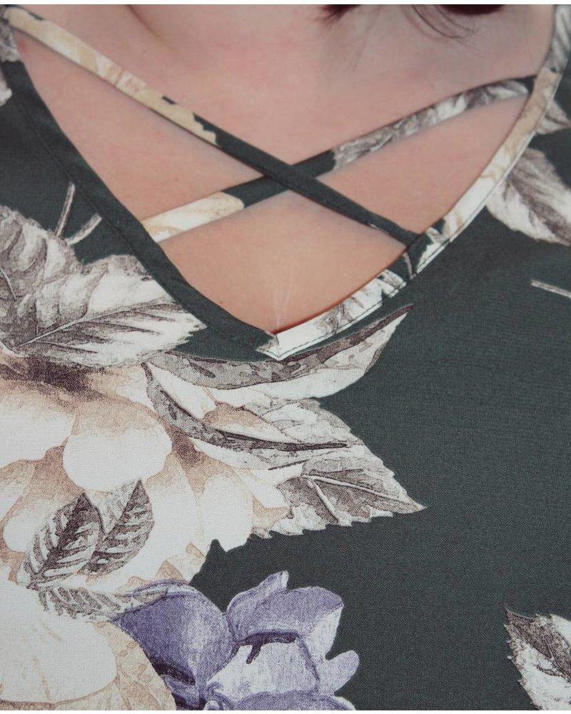 Criss Cross Front Olive Floral Dress