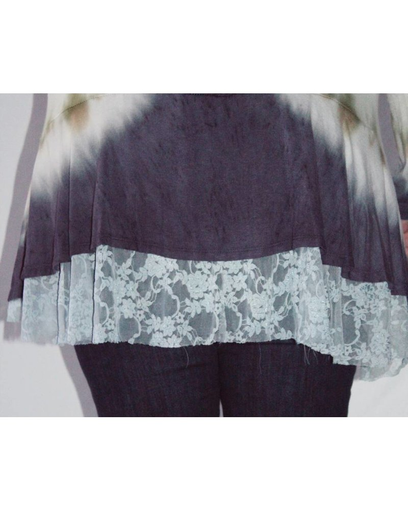 Olive/Navy Tie Dye Top W/Lace Bottom