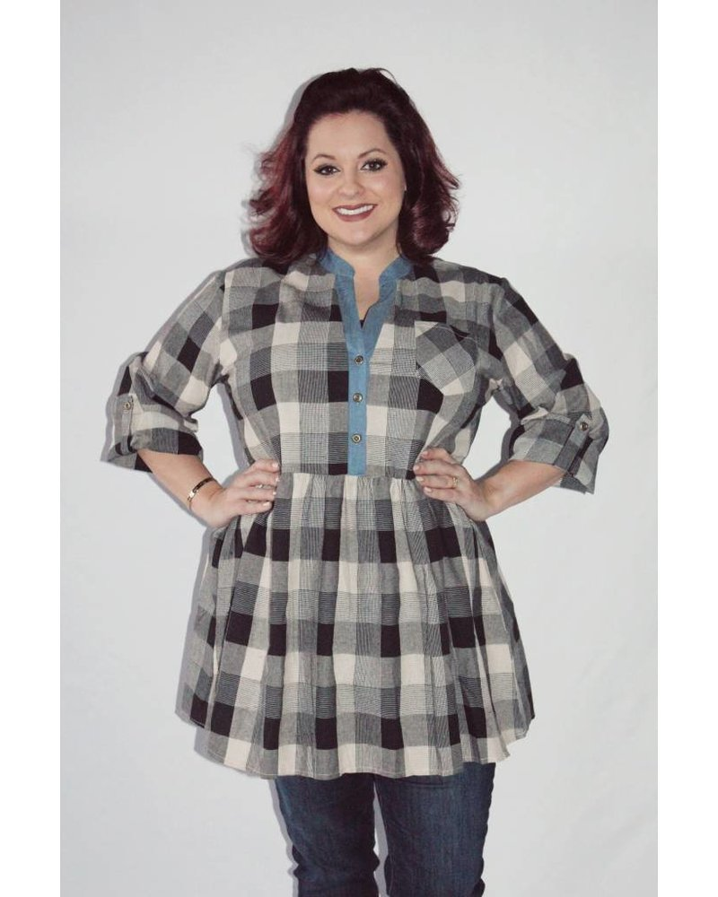 Velzera Woven Plaid Dress