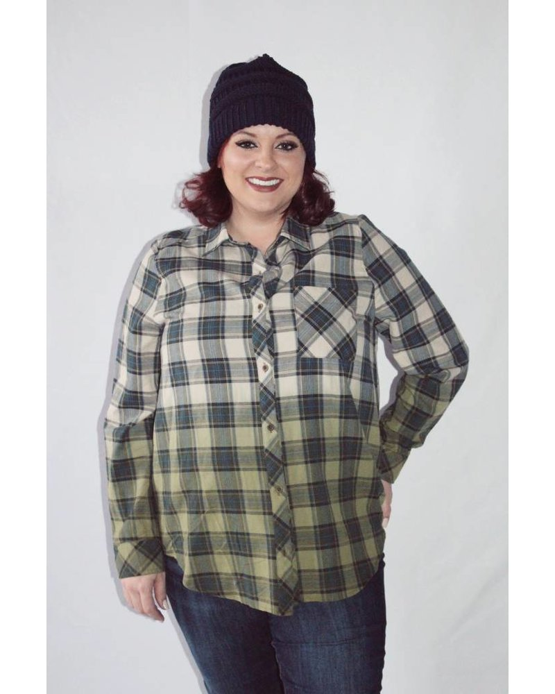 Ombre Dyed Plaid Shirt