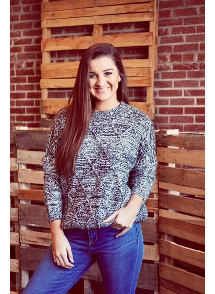 Black Speckled Oversizes Knit Sweater