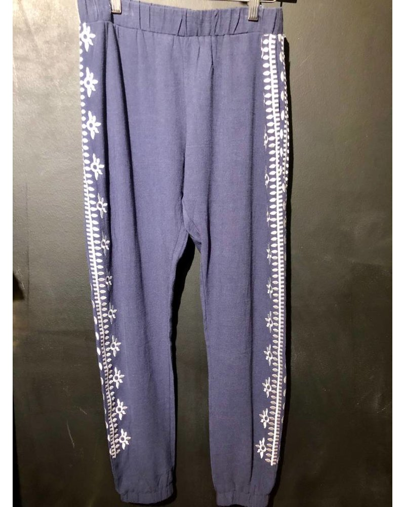 Navy Pants W/ Wht Embroidery