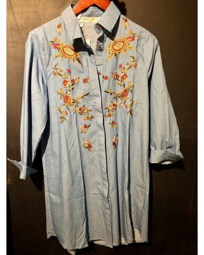Blue Dress W/ Embroidery