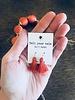 Org Pom Ncklc/Earring Set