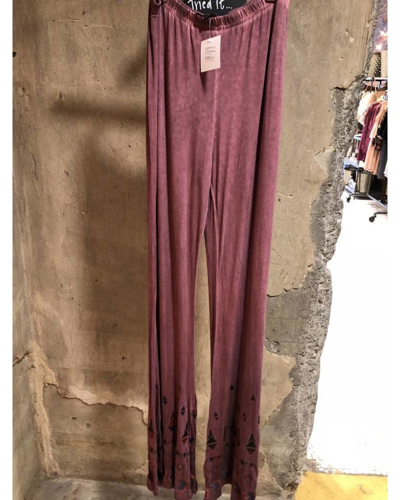 Burgundy Embroidery Detailed Pants