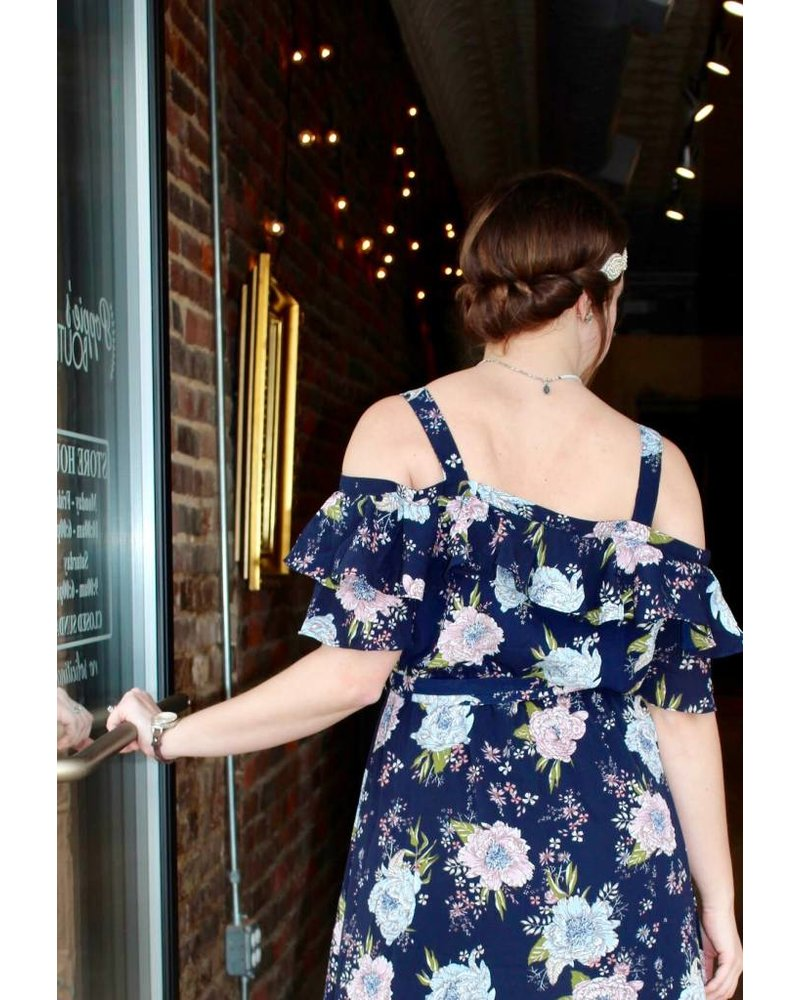 Jodifl Cold Shoulder Floral Midi