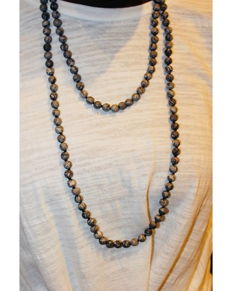 Natural Stone Speckled Charcoal Bead Necklace