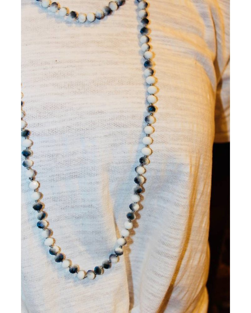 Natural Stone White/Blue Glitter Bead Necklace