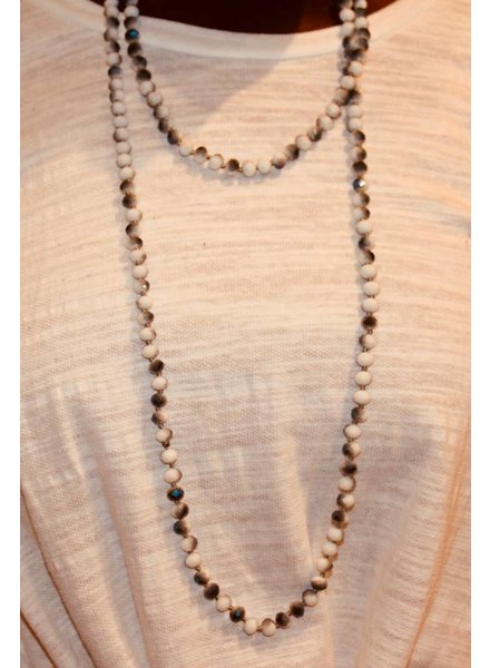 Natural Stone Charcoal Glitter Bead Necklace