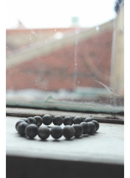 Natural Stone Speckled Charcoal Bead Bracelet
