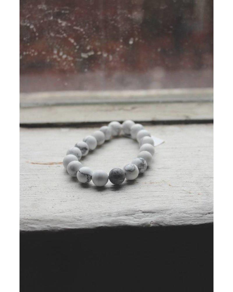 Natural Stone White Marble Bead Bracelet