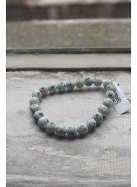 Natural Stone Speckled Egg Bead Bracelet